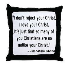 Gandhi and Christians Throw Pillow