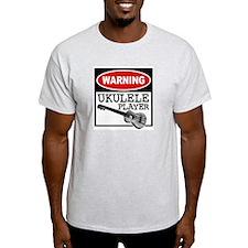 Warning Ukulele Player Ash Grey T-Shirt