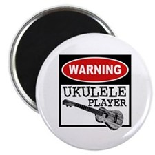 Warning Ukulele Player Magnet