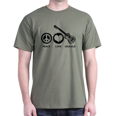 Peace Love Ukulele Dark T-Shirt
