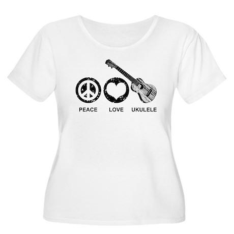 Peace Love Ukulele Women's Plus Size Scoop Neck T-