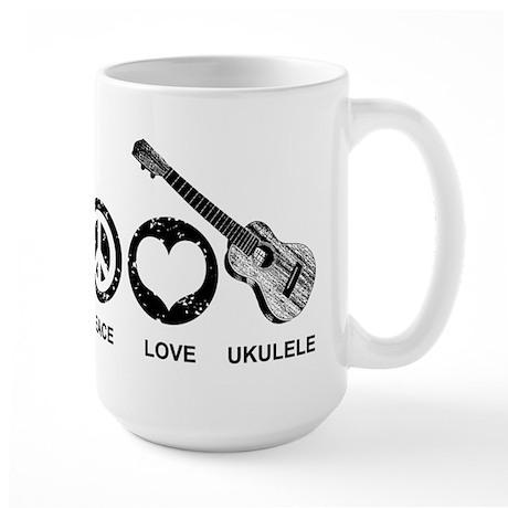 Peace Love Ukulele Large Mug