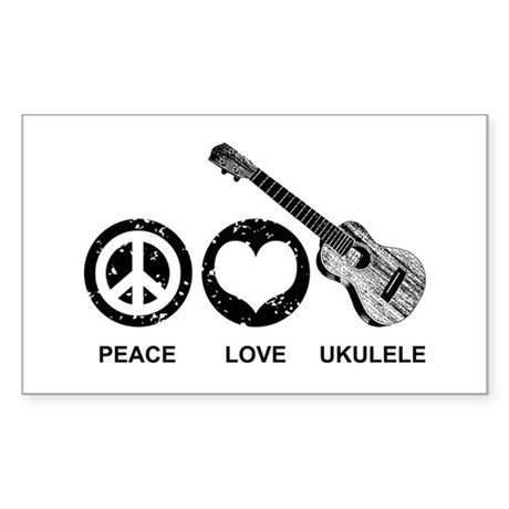 Peace Love Ukulele Sticker (Rectangle)