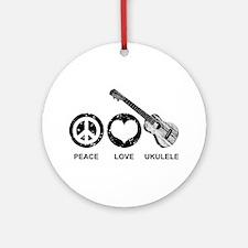 Peace Love Ukulele Ornament (Round)