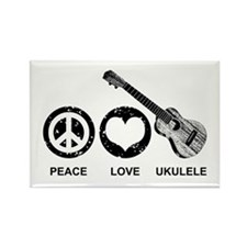 Peace Love Ukulele Rectangle Magnet