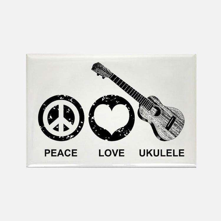 Peace Love Ukulele Rectangle Magnet