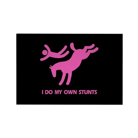 Pink Bucking Horse 'Stunts' Rectangle Magnet (10 p