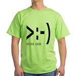 Online Devil Smiley Face Green T-Shirt