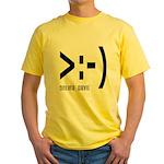 Online Devil Smiley Face Yellow T-Shirt