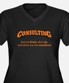 Consulting-Numbers Women's Plus Size V-Neck Dark T