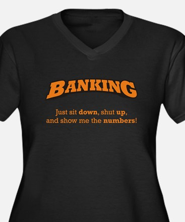 Banking-Numbers Women's Plus Size V-Neck Dark T-Sh