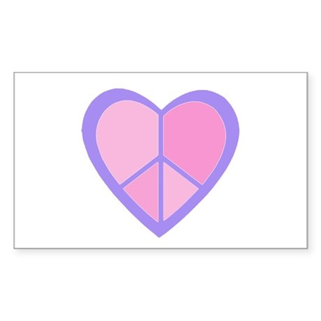 Peace Heart in Pink & Purple Sticker (Rectangle)