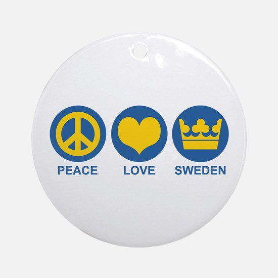 Peace Love Sweden Ornament (Round)