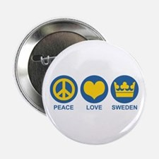 "Peace Love Sweden 2.25"" Button"