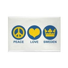 Peace Love Sweden Rectangle Magnet