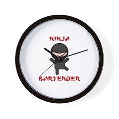 Ninja Bartender Plain Wall Clock
