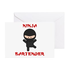 Ninja Bartender Plain Greeting Cards (Pk of 20)