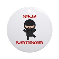 Ninja Bartender Plain Ornament (Round)
