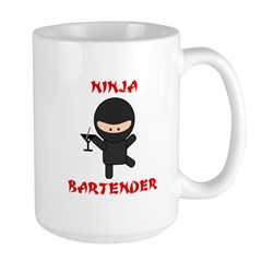Ninja Bartender with Martini Large Mug
