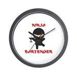 Ninja Bartender with Martini Wall Clock