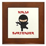 Ninja Bartender with Martini Framed Tile