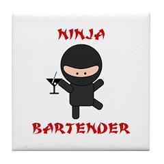 Ninja Bartender with Martini Tile Coaster