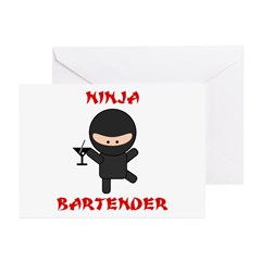 Ninja Bartender with Martini Greeting Cards (Pk of