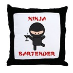 Ninja Bartender with Martini Throw Pillow