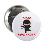 "Ninja Bartender with Martini 2.25"" Button (100 pac"