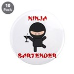 "Ninja Bartender with Martini 3.5"" Button (10 pack)"