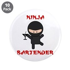 """Ninja Bartender with Martini 3.5"""" Button (10 pack)"""