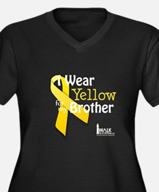 Yellow for Brother Women's Plus Size V-Neck Dark T