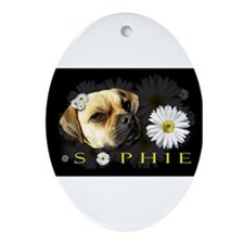 Sopie Puggle Black Ornament (Oval)