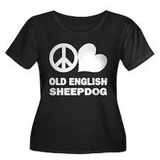 Peace Love Old English Sheepdog T