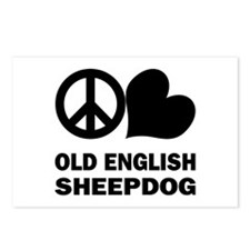 Peace Love Old English Sheepdog Postcards (Package