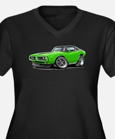 Charger Lime-Black Top Car Women's Plus Size V-Nec