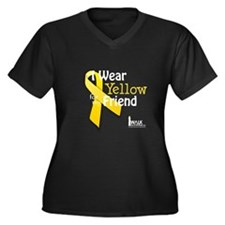 Yellow for Friend Women's Plus Size V-Neck Dark T-