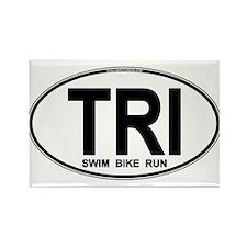 TRI (Triatlete) Euro Oval Rectangle Magnet
