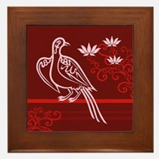 Baha'i Arabic Bird Framed Tile: Red