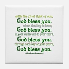 Irish Blessing--God Bless You Tile Coaster