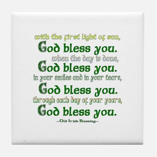 Irish Blessing--God Bless You Tile Coaster