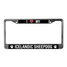 I Love My Icelandic Sheepdog License Plate Frame