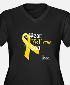 Yellow for Son Women's Plus Size V-Neck Dark T-Shi