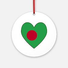 Bangladesh Flag Heart Shaped Ornament (Round)