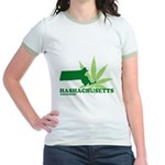 Funny Massachusetts Weed Jr. Ringer T-Shirt