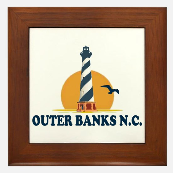 Outer Banks NC - Lighthouse Design Framed Tile