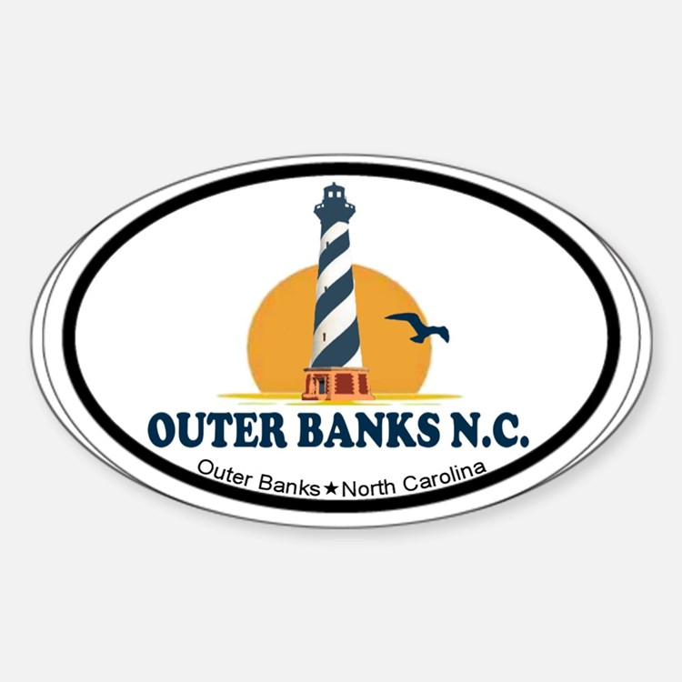 Outer Banks NC - Lighthouse Design Sticker (Oval)