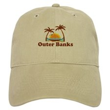 Outer Banks NC - Palm Trees Design Baseball Cap