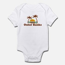 Outer Banks NC - Palm Trees Design Infant Bodysuit