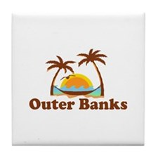 Outer Banks NC - Palm Trees Design Tile Coaster
